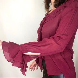 Shiri Kare silk chiffon ruffle button down blouse